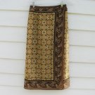 Sag Harbor Faux Wrap Skirt 8P 26 Waist Brown Medallion Pattern