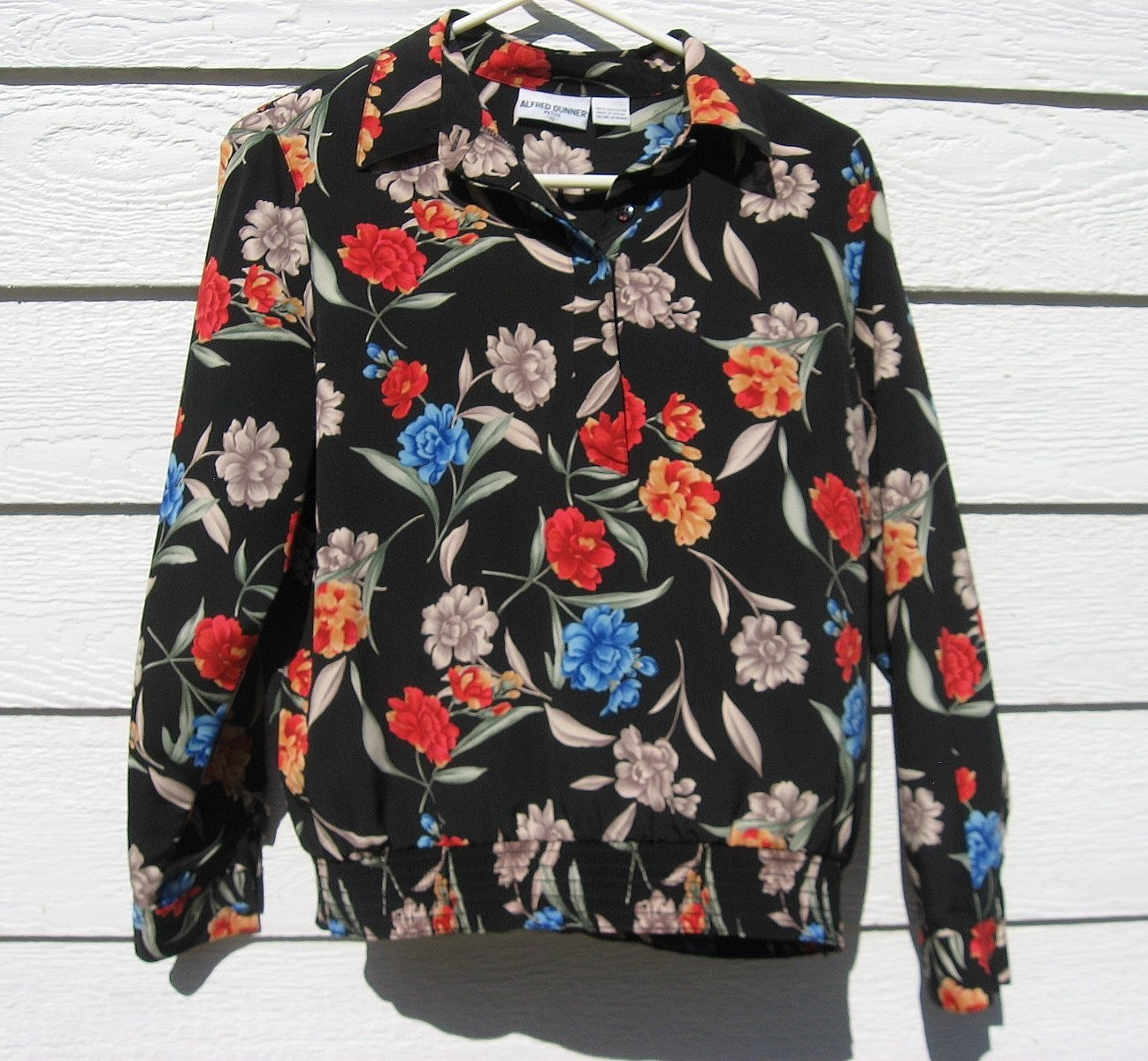 Alfred Dunner Pull Over Top 10 40 Chest Black Floral Elastic Waistband CLEARANCE