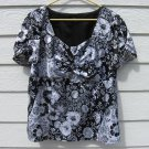 Lane Bryant Satin Top 18/20 44 Chest Empire Waist Black White Shirt