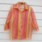 Notations Sheer Top 1X 46 Chest Bright Colors Stripe Blouse Coverlet Top