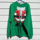 Santa Sweat Shirt2XL 54 Chest  Green Santa Claus Body Naughty Beer Gift NWOT