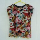 Notations Ruffle Top Small 38 Chest Raw Edge Knit Black Colorful Layers
