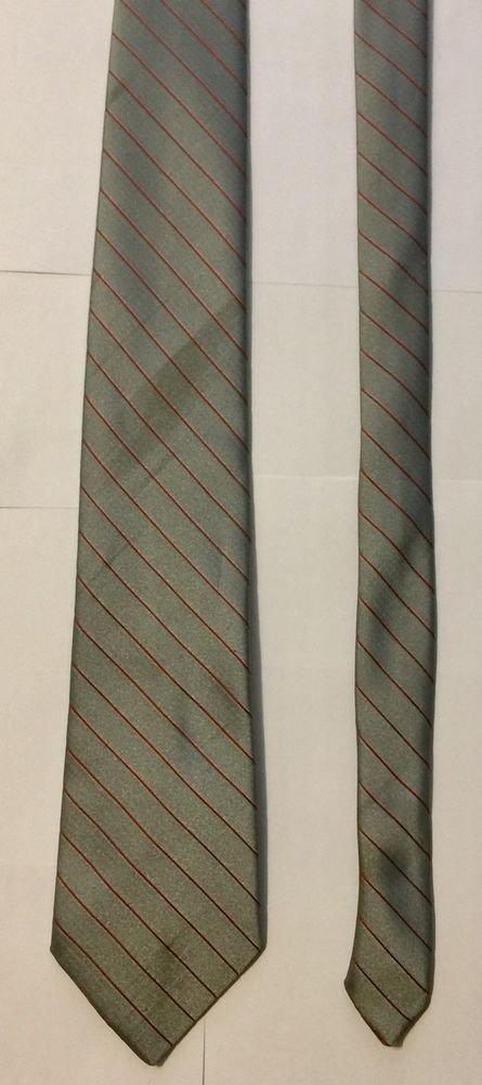 Austin Manor Gray and Red Striped Necktie Tie 98% Polyester 2% Silk
