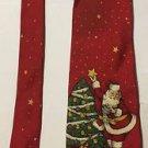 John Henry Red Christmas Santa Claus Silk Necktie Tie