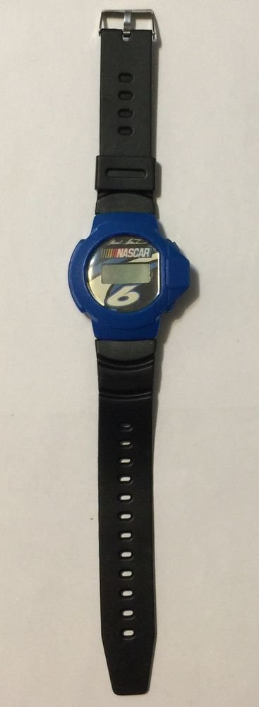Nascar 6 Mark Martin Digital Blue & Black Wrist Watch