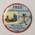 Lion King Pocahontas Promotional Pinback 3.5 Inches Round Button