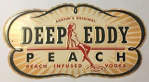 Austin's Original Deep Eddy Ruby Red Vodka Peach Infused Tin Metal Sign