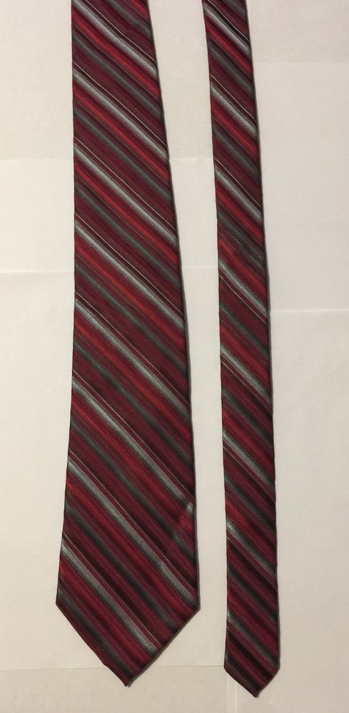 Calvin Klein Extra Long Red Multicolored Striped Silk Necktie Tie