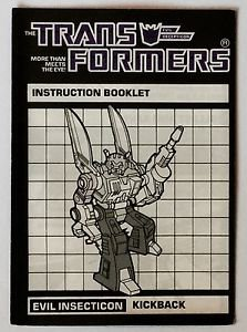 Transformers Evil Insecticon Kickback Instruction Booklet 1984 Hasbro