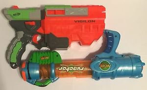 Lot of 2 Nerf Guns Vortex Vigilon & Reactor Disc and Ball Shooting Authentic