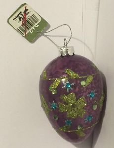 Raz Imports Purple Glitter Egg Ornament Easter Christmas