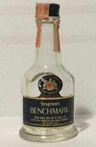 Seagram's Benchmark Premium Bourbon Miniature Empty Glass Bottle
