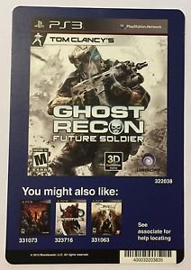 Playstation 3 Ghost Recon Future Soldier Blockbuster Artwork Display Card