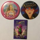 Lot of 3 Children's Movies Promotional Pinback Buttons Anastasia Barbie Barney's
