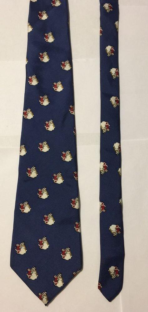 John Henry Blue Christmas Santa Claus Building a Snowman Silk Necktie Tie