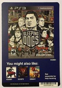 Playstation 3 Sleeping Dogs Blockbuster Artwork Display Card