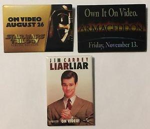 Lot of 3 Movie Promotional Pinback Buttons Star Wars Trilogy Liar Liar Armageddo