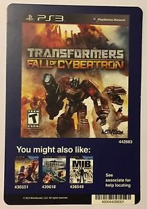 Playstation 3 Transformers Fall of Cybertron Blockbuster Artwork Display Card