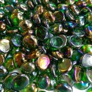 Creative Stuff Glass - 1 lb bag Crystal Irid. Green Glass Gems Flat Marbles Vase Fillers Mosai