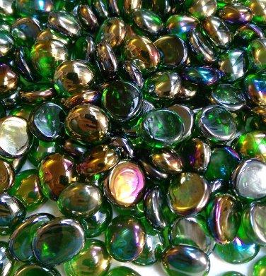 Creative Stuff Glass - 1 lb bag Crystal Irid. Green Glass Gems Flat Marbles Vase Fillers Mosai