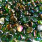 Creative Stuff Glass - 100 Green Iridescent Glass Gems Mosaic Pebbles Flat Marbles Vase Fillers