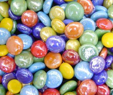 Creative Stuff Glass 1 lb Mixed Opal Colors Glass Gems Pebbles Flat Marbles Vase Fillers