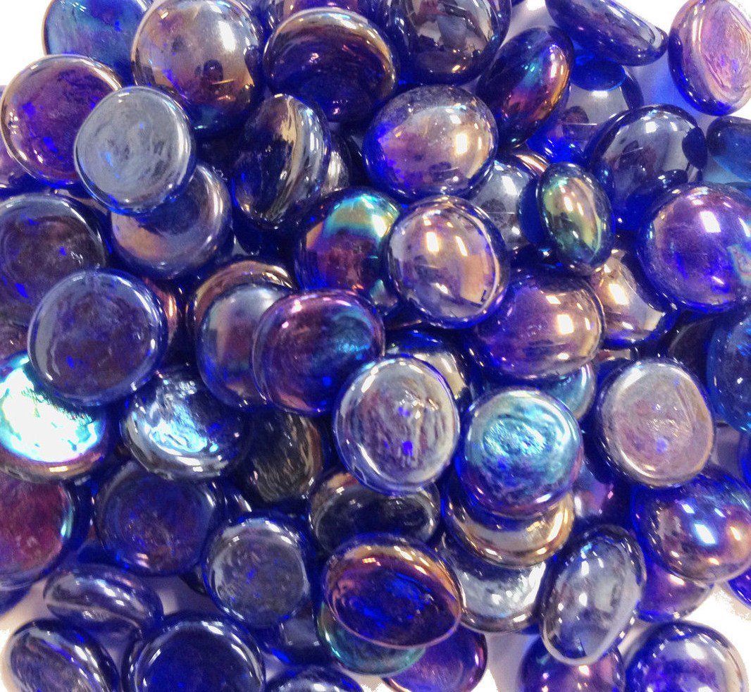Creative Stuff Glass 5 lb Cobalt Blue Irid Glass Gems Stones Mosaic Tiles Flat Marbles Vase Fillers