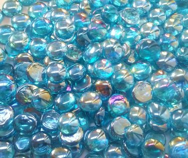 Creative Stuff Glass - 100 Light Blue Irid. Glass Gems Mosaic Pebbles Flat Marbles Vase Filler