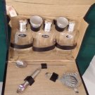 Portable Bar Set, Black Case, Gin, Scotch, Bar Tools, Vintage