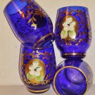 Cobalt Blue, Shot Glasses, Lot of Four, Gold Accents, Vintage, Excellent