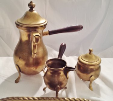 Four Piece Brass Dallah Turkish Coffee Service, Vintage