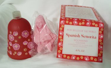 Spanish Senorita Avon Prefume Decanter Bells of The World Moonwind Cologne, Vintage