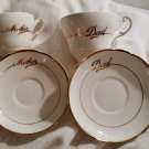 Mother and Dad Regency Bone China Cups and Saucers England, Lot of 2