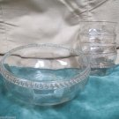 Vintage Seven Pieces US Glass Sheraton Pattern Large Bowl W Six Small Bowls