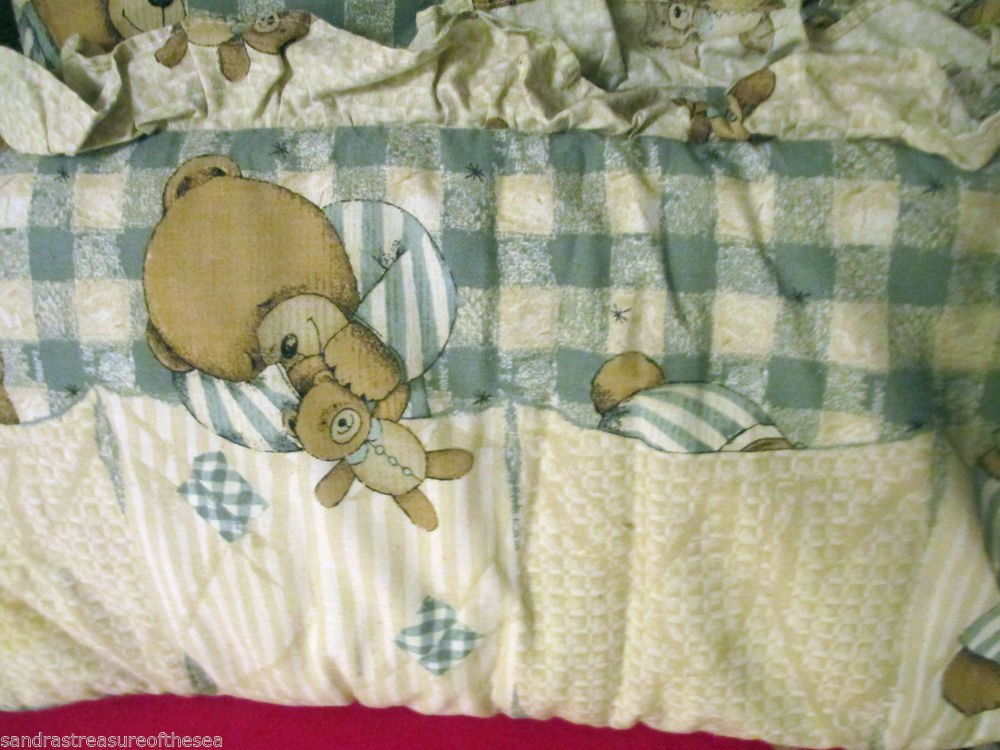 Kids Line Crib Bumper Pad Teddy Bear Plaid Backround
