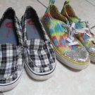 Size 7 1/2 M Ladies Girls Deco Paris Blues W Plaid Airwalk Sneakers Tennis Shoes