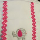 Six Baby Burp Cloths One MSC with Pink Applique Five White Clean Not Used