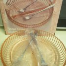 Pink Peach Anchor Hocking New In Box Divided Dish Two Serving Forks in Wrappers