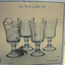 4 Indiana Glass Recollection Blue Water Goblets 1970 Reproduction of Madrid Ptn