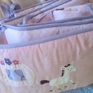 Girls 4 Piece Pink Floral Purple Baby Bumper Princess Horse Carriage Appliqued