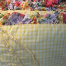 Beautiful Baby Crib Full Size Bumper Pad Yellow Gingham Checked Floral Ruffle
