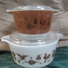 Two Vintage Pyrex Casserole Dishes W Lids Bowls American Heritage Rooster Design