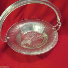 Vintage Continental Silver Wild Rose Brialliantone Hammered Aluminum Nut Bowl