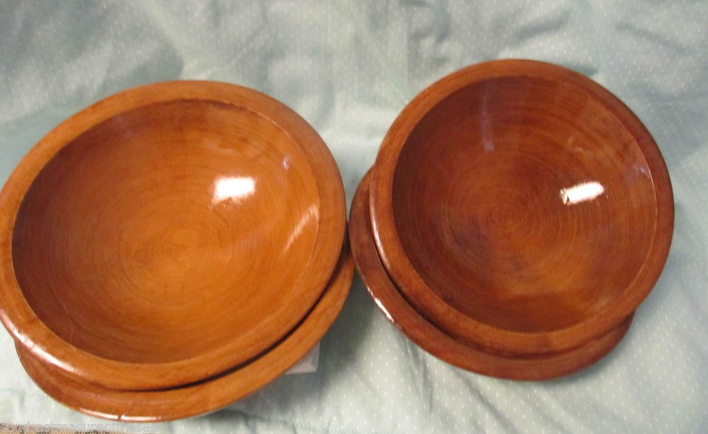 Four Vintage Woodcroftery Wooden Individual Salad Bowls