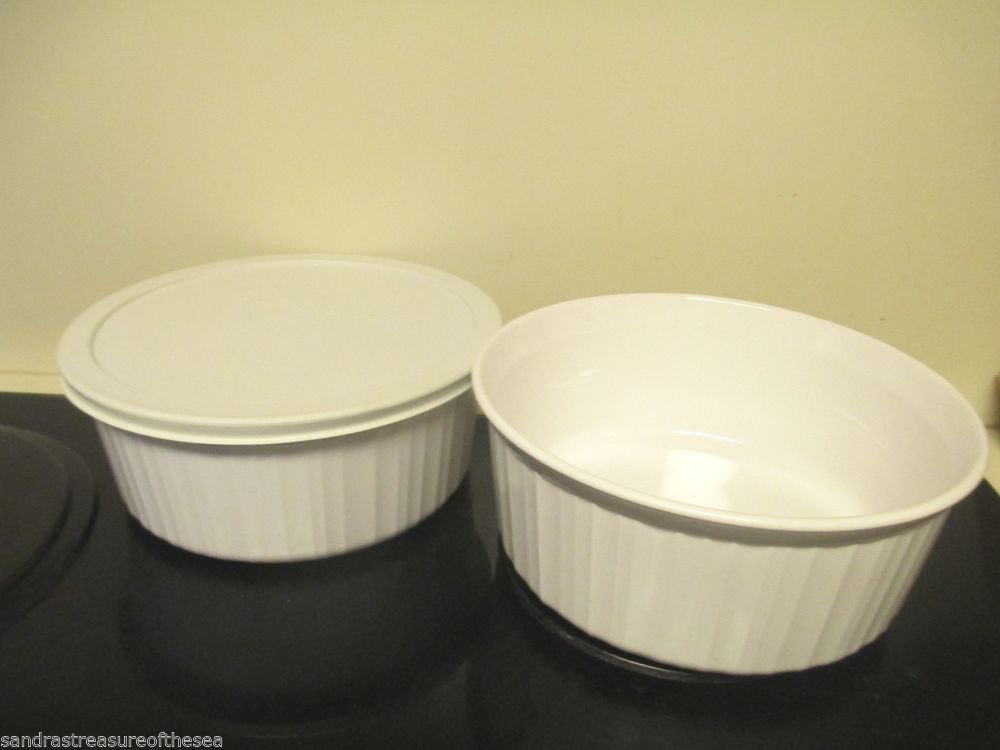 Two Corelle Corning Ware French White F1 B Casserole 1 Store It Lid