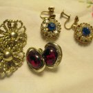 Three Pr Signed Vintage Coro Earrings Sapphire Rhinestone Amber Silver Tone
