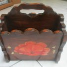Vintage Heavy Wood Magazine Rack Two Sided Hand Painted Flowers Design