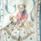 Handcrafted Finished Teddy Bear On Rocking Horse Quilt Panel Reversible