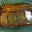 Vintage Indiana Amber Glass Fruits Five Part Relish Serving Tray Apples Grapes