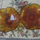 Two Anchor Hocking Amber Renaissance Beaded Leaf Serving  Bowls 1960s